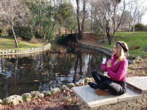 foto en posición de relajación mental